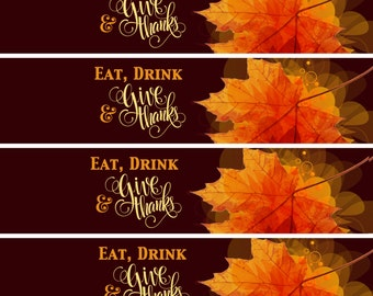 20 Thanksgiving Water Bottle Labels - Thanksgiving Decor - Thanksgiving Favors - thanksgiving Bottle Wraps - Autumn Decor - Waterproof