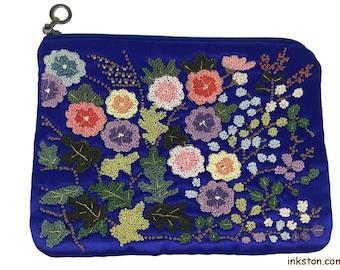 Handmade Silk Embroidery Purse, Blue