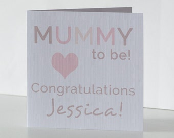 Personalised Baby Shower Card. Congratulations Mummy To Be Card.  Pregnancy / Expecting a Baby Congratulations Card.