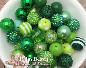 100-pc Chunky Bubblegum 20mm Acrylic Assortment of Beads GREEN DIY MIX Wholesale Lot
