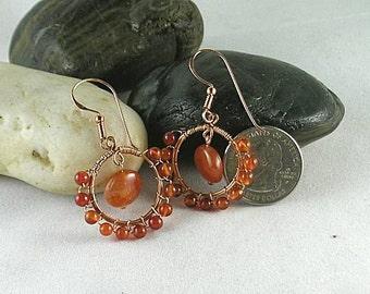 Carnelian Wire Wrapped Hoops - Copper Dangle Earrings