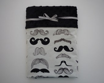 Minky Baby Boy Blanket...Baby Boy Mustache Blanket...whimsical mustaches on designer print cotton..black dimple dot Minky backing..adorable!