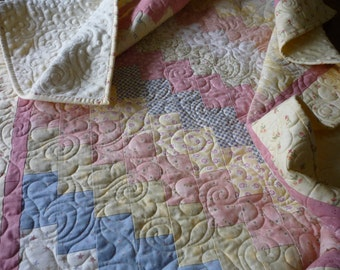 Baby Girl Quilt...baby crib quilt...toddler quilt...baby girl bedding... Crib quilt...baby girl blanket...minke blanket