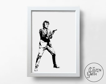DIRTY HARRY - Clint Eastwood - Black And White - Hand-Drawn Film Art Print/ Movie Poster