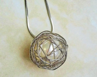 Wire Wrapped Faux Pearl Orb Pendant Silver Necklace 28-30 Inches
