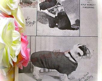 Vintage Copy Of 1930s Dog Coat Knitting Pattern & Scottie Dog Toy Knitting pattern