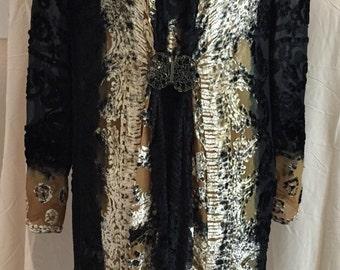 Vintage Marian Clayden long silk chiffon and velvet jacket
