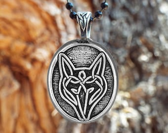 "Wolf Necklace - Celtic Wolf Pendant -  ""Live bold, trust your instincts."" - Celtic Knot Wolf Pendant, Celtic Wolf Pendant,  Irish Necklace"