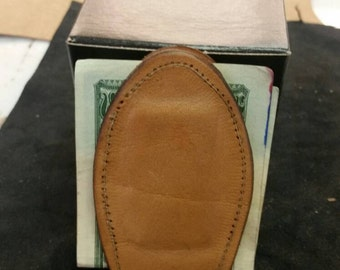 All leather  handmade magnetic money clip