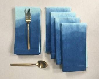 Ombré dip dye linen napkins, set of 4: seafoam to indigo
