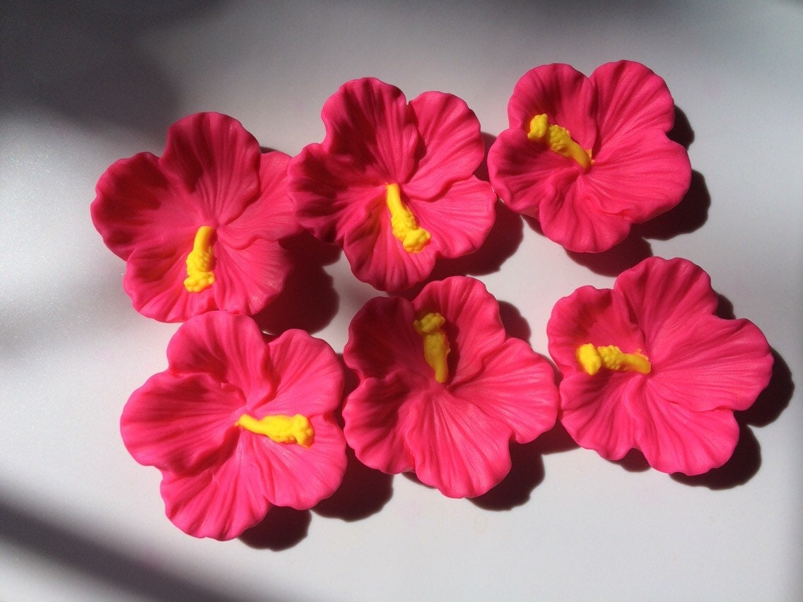 Edible Flowers 6pcs 275 Hibiscus Fondant Flowers Hawaiian Fiesta