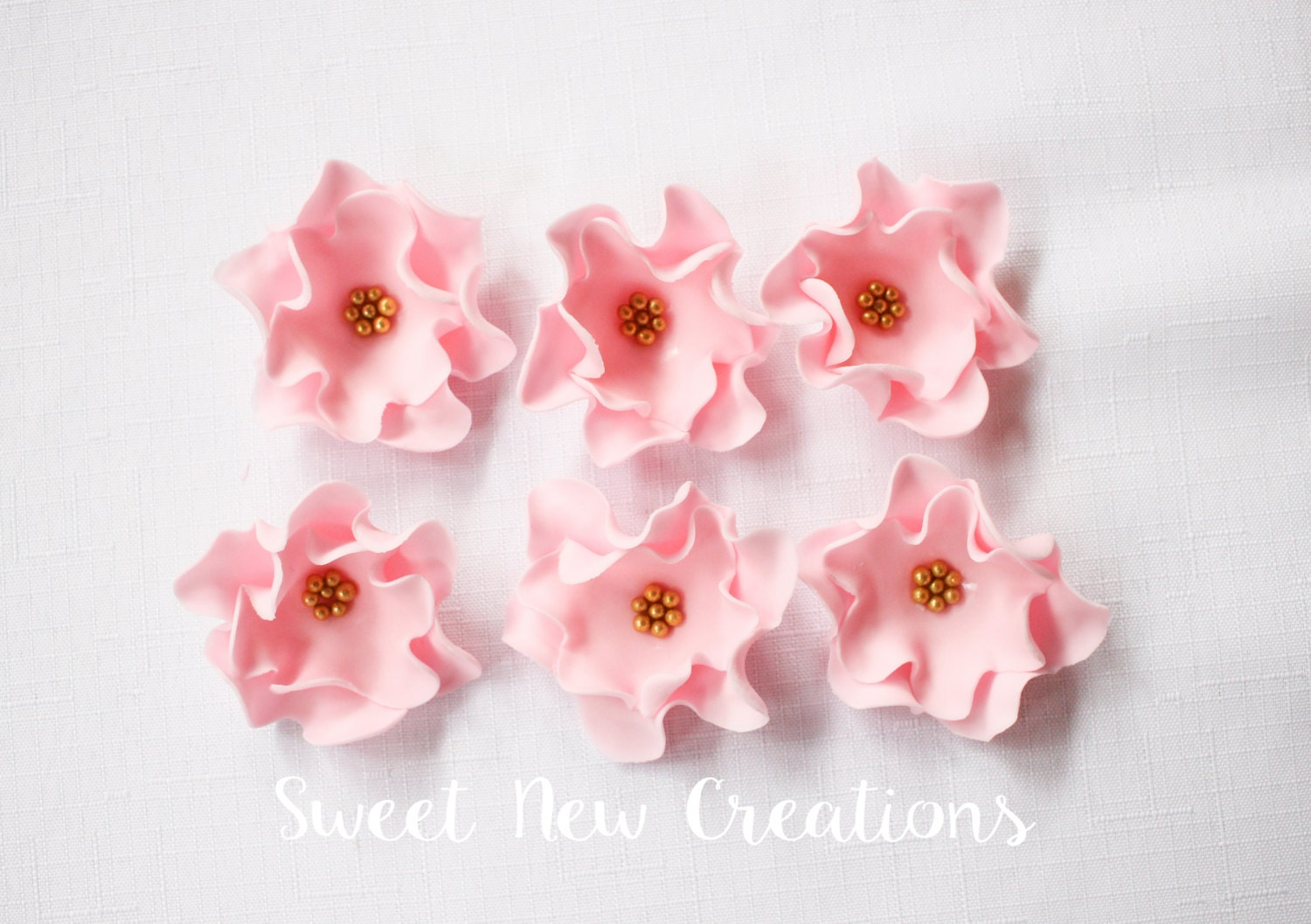 edible flowers 2.5 vintage soft pink fondant flowers cupcake toppers ...