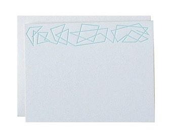 "Letterpress Stationery, ""Zig Zag"", Mint, Modern, Edge Painted, Gold, Flat Note"