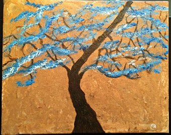 Tree with blue and white flower petals - Original Acrylic Painting