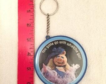 Vintage Plastic Miss Piggy Key Chain