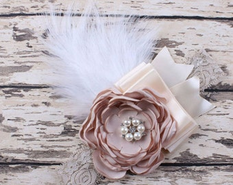 Lace feather flower headband