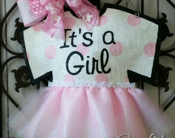 Baby announcement door hanger, hand painted burlap, Hospital or Baby shower hanger, with pink polka dots and tutu