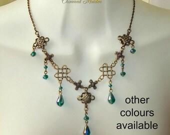 Bronze Celtic Necklace, Medieval Necklace, Renaissance Necklace, Bridal Jewelry, Celtic Princess, Celtic Knot, Costume Jewelry, Cosplay,Larp