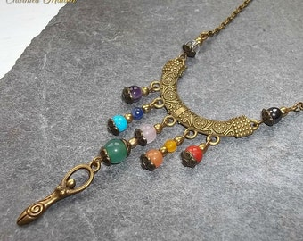 Goddess Necklace, Chakra Necklace, Chakra Goddess, Ten Chakra Stones, Gemstone Necklace, Boho Necklace, Bohemian, Gaia, Rainbow,Pagan,Wiccan