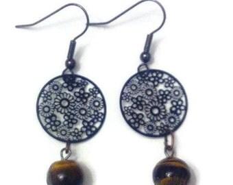 "Dangling earrings with Pearl ""Tiger eye"""