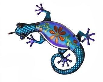 Hand painted glass Gecko wall decor