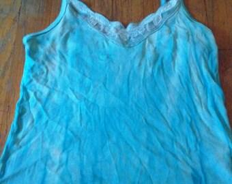 Aqua blue shibori print lace tank top
