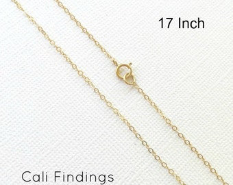 "14K Gold Fill 17"" Chain, Finished Flat Cable Chain Necklace 1.3mm, 1Pc, Gold Fill chain, Finished Necklaces, Gold Chain, 17 inch [4082]"