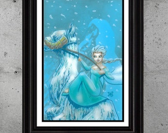 """Star Wars/Frozen - Elsa on TaunTaun """"Smells like Lutefisk on the Outside"""" - by Saintworksart the Art of Matthew Hirons"""