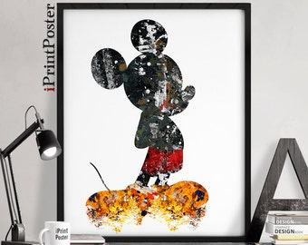 Mickey Mouse, Disney, poster, wall art, disney prints, mickey, disney poster, home decor, gift, art, nursery, wall decor, iPrintPoster