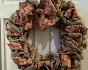Orange Chevron Fall Wreath, Front Door Decor, Fall Wreath