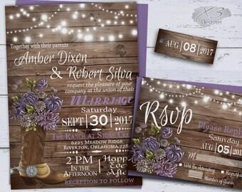 Country Wedding Invitations, Printable Rustic Wedding Invitation, Spring Wedding, String Lights, Western Wedding Invites, Cowboy Boot Purple