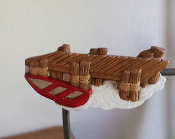 Ceramic Boat Dock with Red Boat Magnet(#227B)