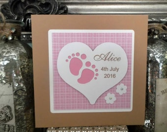 Personalised Handmade New Baby Boy or Girl Card ...Pink or Blue