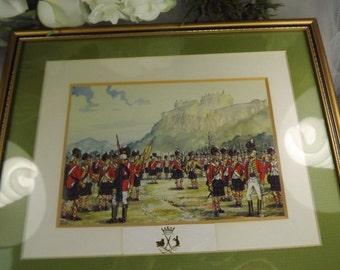 Scottish  , Vintage Scottish Soldier / Military Framed Picture