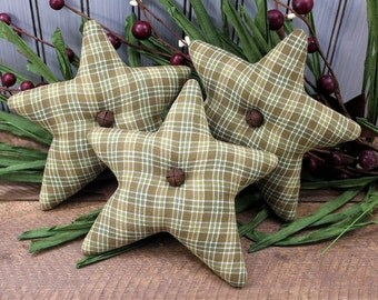 Stars Bowl Fillers 3-Set Homespun Green Check Country Primitive