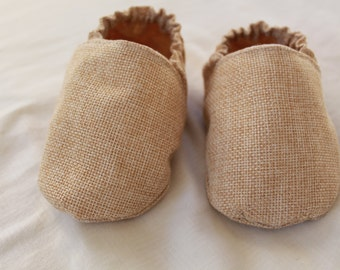 Beige Baby Booties / Crib Shoes