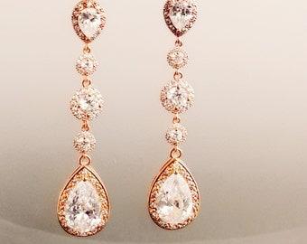 Rose Gold Bridal Earrings Cubic Zirconia Teardrop Bride Earrings