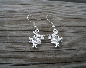 Alice in Wonderland Earrings- Rabbit Earrings-White Rabbits
