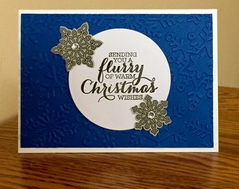 Blue and Silver Christmas Card set of 4