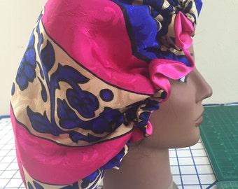 Haute Pink & Royal Blu Satin Bonnet