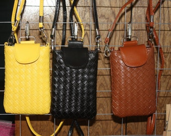 Phone Purse, Small Purse, Yellow, Black and Brown Phone Purse