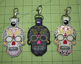Sugar Skull Key Fob, Zipper Pull, Snap Tab, Day of the Dead, Choose black or white
