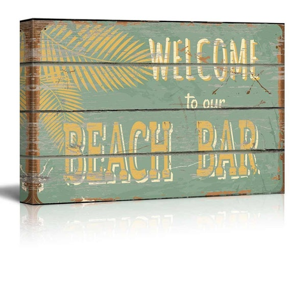 Welcome To Our Beach House Sign: Rustic Wooden Welcome To Our Beach Bar Sign Canvas Art Home