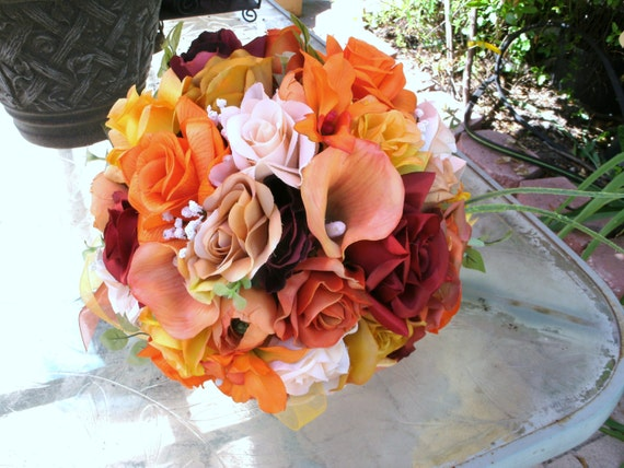 Fall bridal wedding set 14 pieces orange burgundy yellow bouquet corsages and more