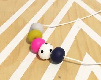 Polymer clay bead necklace, black white spot with fluro pink, mustard, grey, navy 'the kylie'