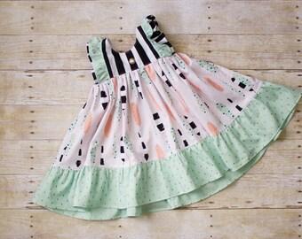 Feather Print Boutique Girls Dress, Spring Dress, Toddler Girls Dress, Ruffle Dress