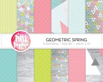 Digtal Paper Patterns | Spring Geo | 12 x 12 inches