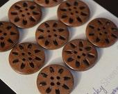 9 Flower Wood Buttons