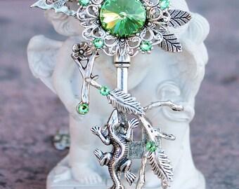 key necklace, fantasy necklace, fantasy key, green key, key jewelery, lizard jewelery, swarovsky necklace, fantasy