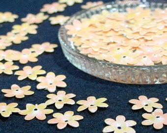 100 • 15 mm Pastel Orange Flower Sequins